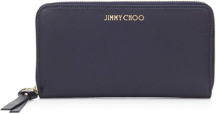 Jimmy Choo PIPPA Navy Soft Grained Goat Leather Zip Around Wallet