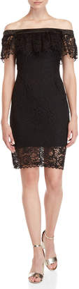 Betsey Johnson Lace Flounce Off-the-Shoulder Dress