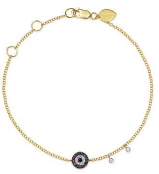 Meira T 14K Yellow Gold & 14K White Gold Blue Sapphire & Diamond Evil Eye Bracelet