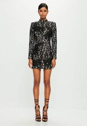 Missguided Black High Neck Lace Mini Dress