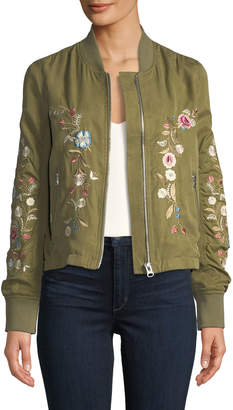 Driftwood Zoe Floral-Embroidered Bomber Jacket