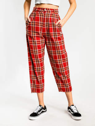Stussy Staple Pleated Pants in Red Rust Orange Check