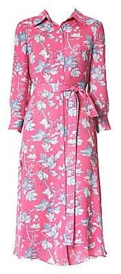 Carolina Herrera Women's Floral Belted Silk Midi Dress