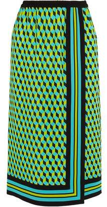 Michael Kors Wrap-Effect Printed Silk Skirt