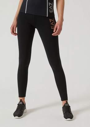 Emporio Armani Ea7 Leggings In Stretch Jersey With Glitter Logo