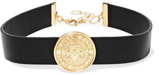 Balmain - Gold-tone And Leather Choker - Black $335 thestylecure.com