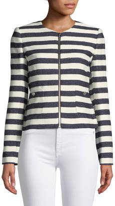 Karl Lagerfeld Paris Striped Tweed Zip-Front Jacket