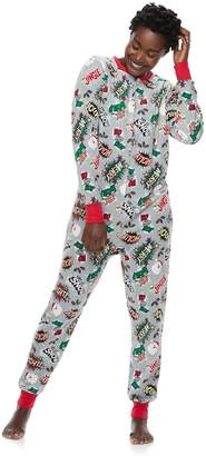 Women's Jammies For Your Families Comic Book Microfleece One-Piece Pajamas