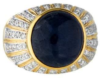 Ring 18K Star Sapphire & Diamond Cocktail