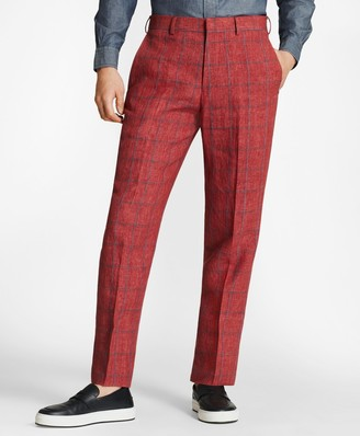 Brooks Brothers Regent Fit Windowpane Linen Trousers