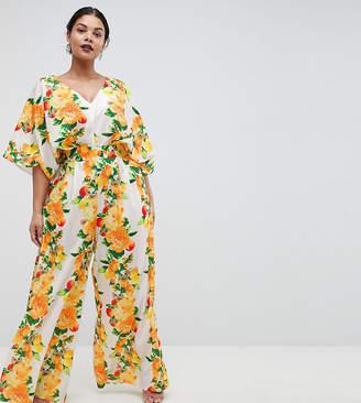 Asos Design Curve Kimono Jumpsuit With Wide Leg In Fruit Print