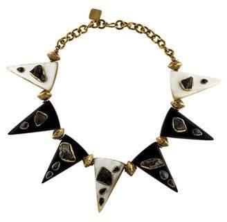 Ashley Pittman Druzy, Kyanite & Horn Collar Necklace
