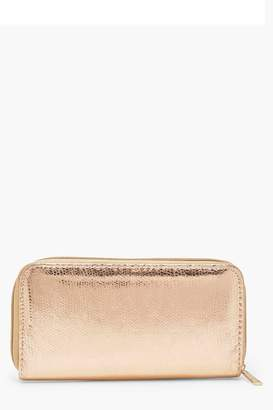 boohoo Amy Metallic Snake Effect Ziparound Purse