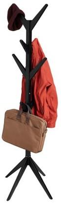 Mind Reader 8 Hook Solid Free Standing Wood Coat Rack, Entryway Coat Tree Hat Hanger Umbrella Holder, Black