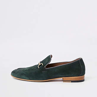 River Island Green suede snaffle loafers