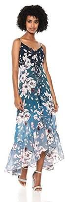 Nanette Lepore Nanette Women's Spaghetti Strap Printed Maxi Dress W/High Low Hem