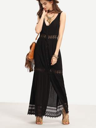 Shein Lace Trimmed Buttoned Front Long Tank Dress