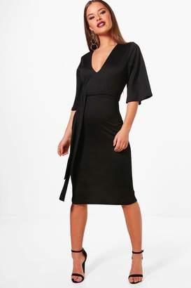 boohoo Petite Lily Kimono Sleeve Tie Waist Midi Dress