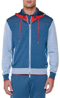 Stefano Ricci Colorblock Zip-Up Hooded Track Jacket, Blue $3,850 thestylecure.com