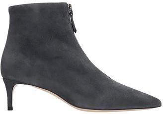 Dei Mille Low Heels Ankle Boots In Grey Suede