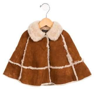 Dolce & Gabbana Girls' Shearling Pointed Collar Cape