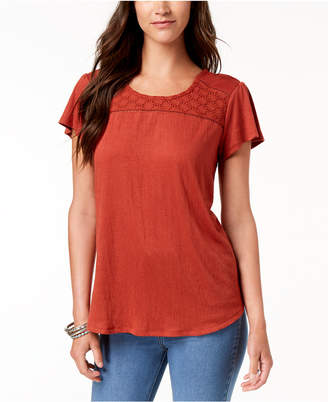 Style&Co. Style & Co Crochet-Contrast T-Shirt