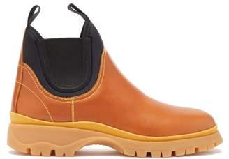 Prada Neoprene And Leather Chelsea Boots - Womens - Tan