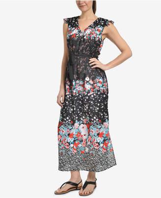 NY Collection Ruffle-Shoulder Surplice Maxi Dress