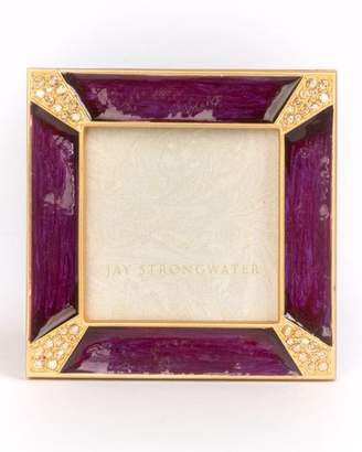 Jay Strongwater Leland Pave Corner Square Picture Frame, Plum
