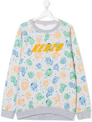Kenzo TEEN globe print sweatshirt