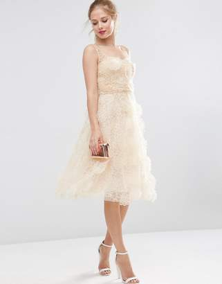 Asos Design SALON 3D Flower Organza Midi Prom Dress