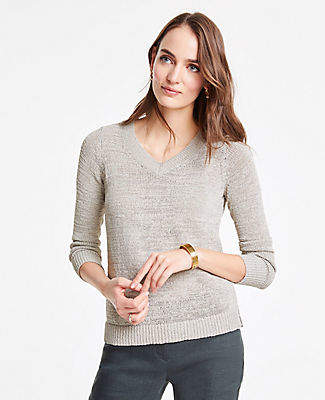 Ann Taylor Textured V-Neck Sweater