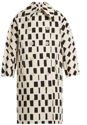 Junya Watanabe Rectangle-print point-collar cotton coat