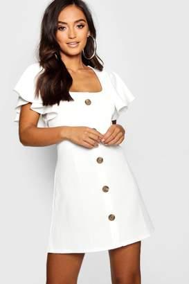 boohoo Petite Frill Shoulder Mock Horn Button Shift Dress