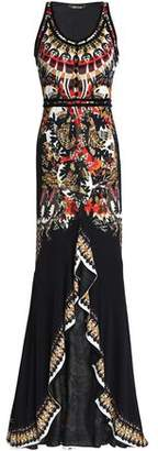 Roberto Cavalli Ruffled Printed Stretch-Jersey Gown