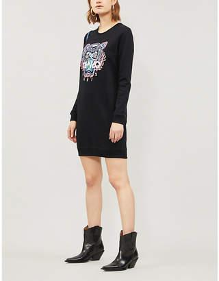 Kenzo Embroidered Tiger cotton-jersey sweatshirt dress