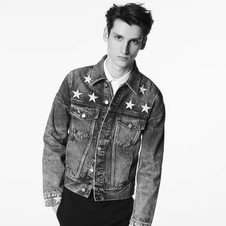Sandro Denim jacket with star embroidery