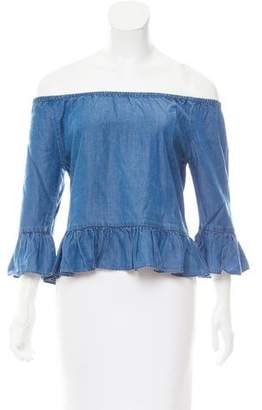 Walter Baker Off-The-Shoulder Chambray Top w/ Tags