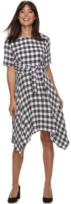 Elle Women's Plaid Handkerchief Hem Dress