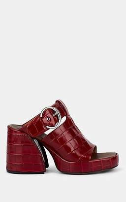 Chloé Women's Buckle-Strap Embossed Leather Platform Mules - Red