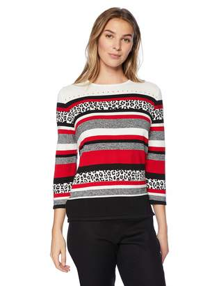 f8d2f407ff0e Alfred Dunner Women s Animal Biadere Sweater with Side Slits
