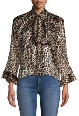 Ganni Calla Leopard Silk Blouse