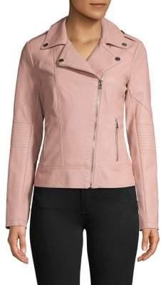 GUESS Asymmetrical Zip Moto Vegan Leather Jacket