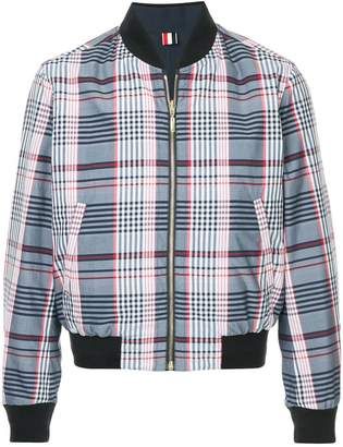 Thom Browne Reversible Blouson Zip Front Ribbed Jacket In Large Madras Check Poplin