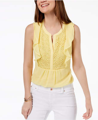Charter Club Petite Crochet-Front Flutter Top, Created for Macy's
