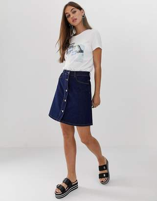 Noisy May button front denim skirt