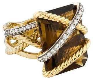 David Yurman 18K Smoky Quartz & Diamond Cable Wrap Ring