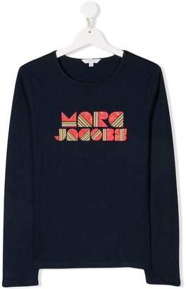 Little Marc Jacobs TEEN glitter rainbow logo print top