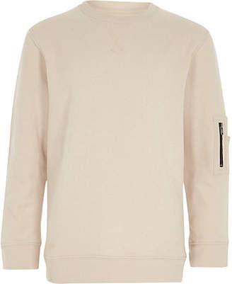 River Island Boys cream zip pocket sleeve sweatshirt