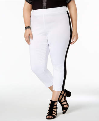 INC International Concepts I.N.C. Plus Size Side-Stripe Skinny Pants, Created for Macy's